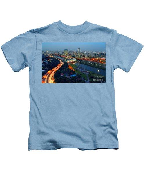 Modern Sao Paulo Skyline - Cidade Jardim And Marginal Pinheiros Kids T-Shirt