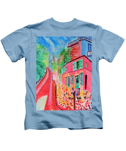 Montmartre Cafe In Paris Kids T-Shirt