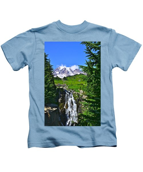 Mt. Rainier From Myrtle Falls Kids T-Shirt