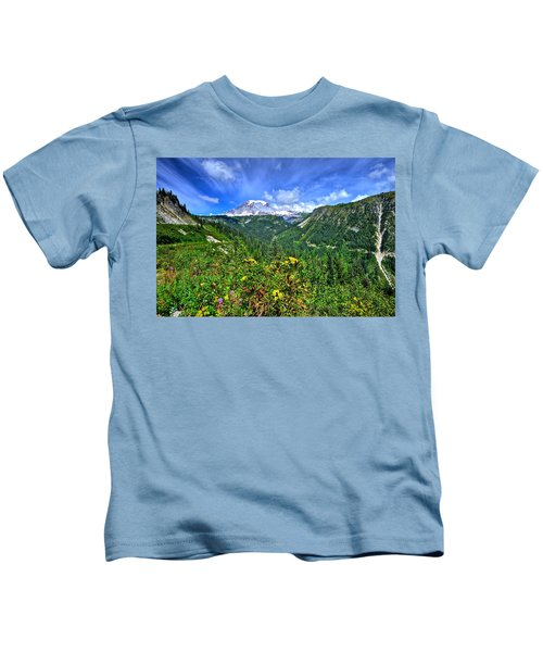 Mt. Rainier Through The Clouds  Kids T-Shirt