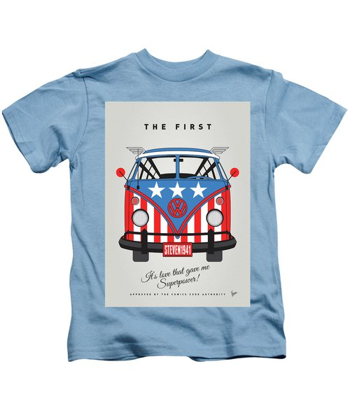 My Superhero-vw-t1-cap America Kids T-Shirt