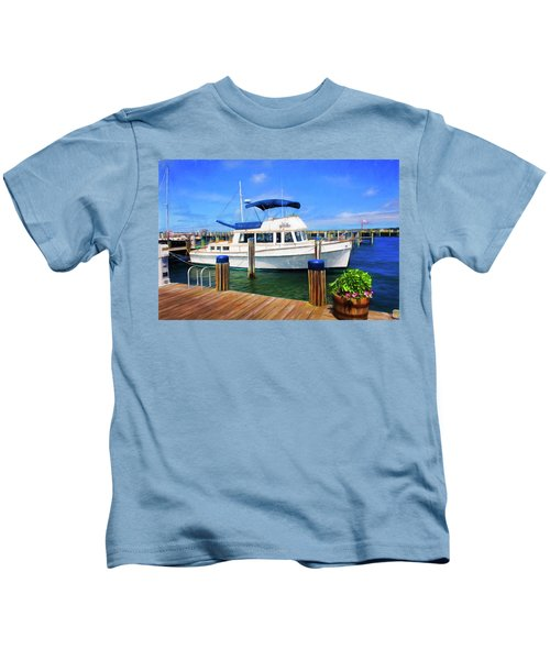 Fishing Boat  In Nantucket Harbor 52 Kids T-Shirt