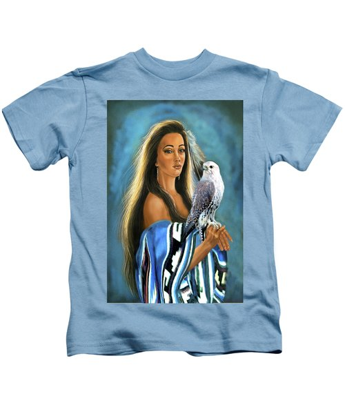 Native American Maiden With Falcon Kids T-Shirt