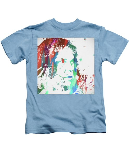 Neil Young Paint Splatter Kids T-Shirt by Dan Sproul