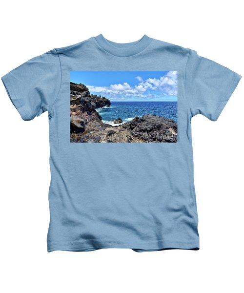 Northern Maui Rocky Coastline Kids T-Shirt