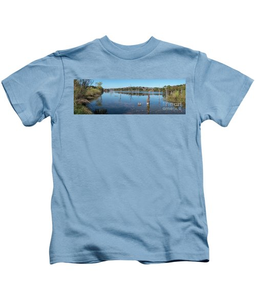 Panoramic View Of Large Lake With Grass On The Shore Kids T-Shirt