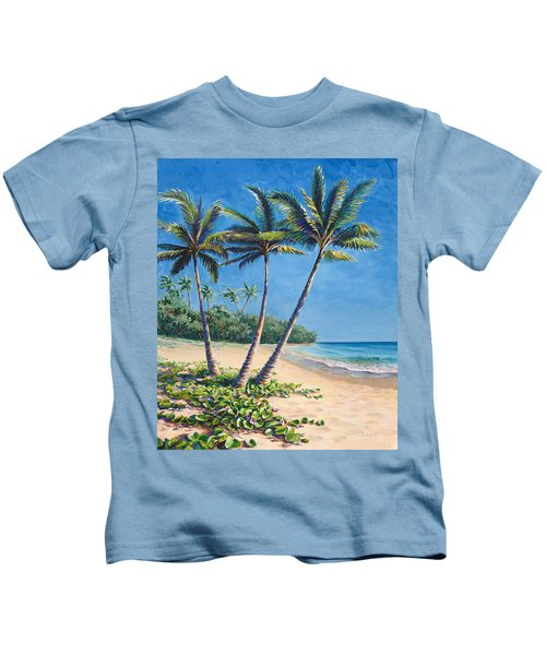 Tropical Paradise Landscape - Hawaii Beach And Palms Painting Kids T-Shirt