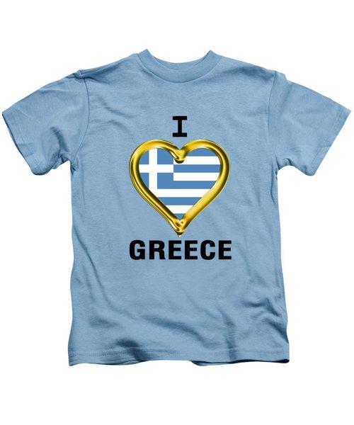 Parchment Background I Heart Greece Kids T-Shirt