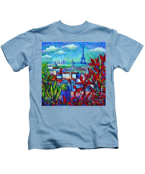 Paris Rooftops - View From Printemps Terrace   Kids T-Shirt