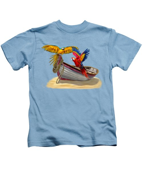 Parrots Of The Caribbean Kids T-Shirt by Glenn Holbrook