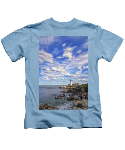 Passing Clouds At Portland Head Light Kids T-Shirt