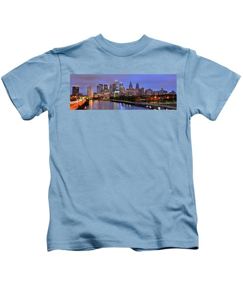 Philadelphia Philly Skyline At Dusk From Near South Color Panorama Kids T-Shirt by Jon Holiday