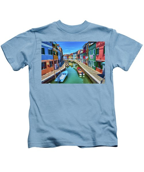 Picturesque Buildings And Boats In Burano Kids T-Shirt