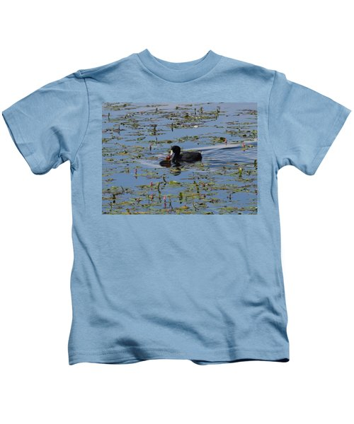 Pied Billed Grebe Lake John Swa Co Kids T-Shirt