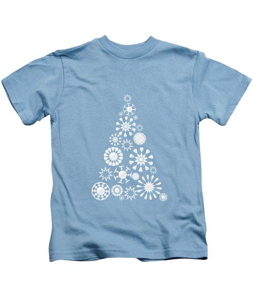 Pine Tree Snowflakes - Baby Blue Kids T-Shirt