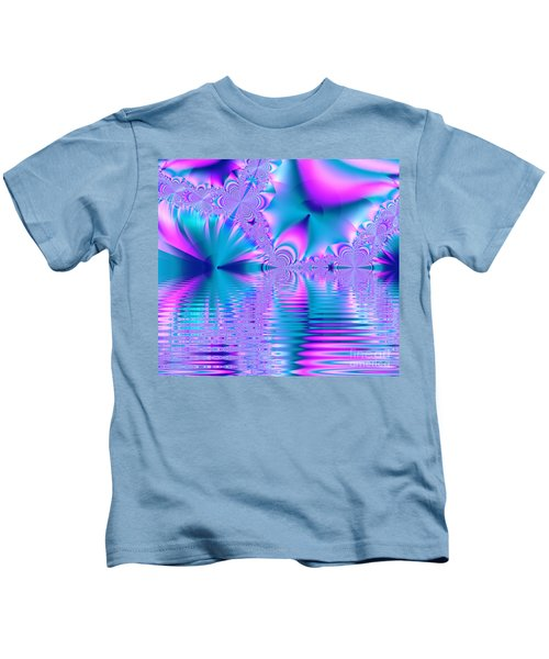 Pink, Blue And Turquoise Fractal Lake Kids T-Shirt