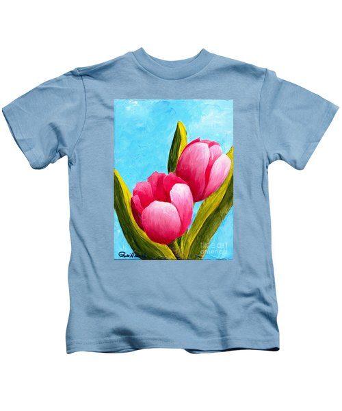 Pink Bubblegum Tulips I Kids T-Shirt