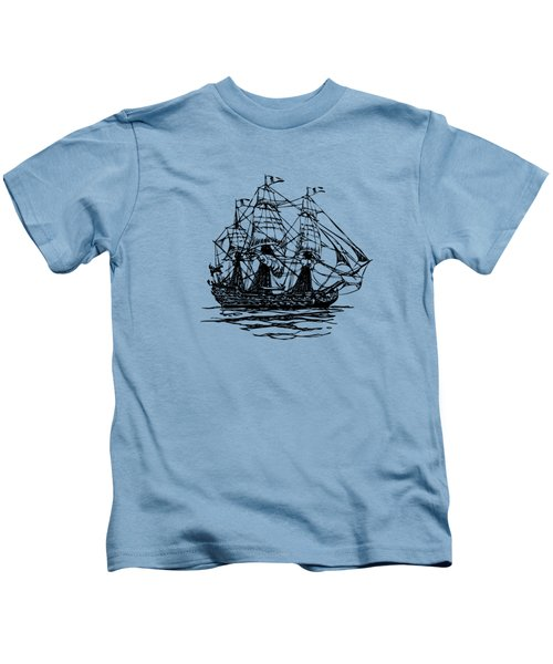 Pirate Ship Artwork - Vintage Kids T-Shirt