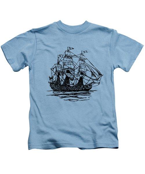 Pirate Ship Artwork - Vintage Kids T-Shirt