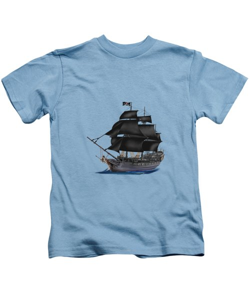 Pirate Ship At Sunset Kids T-Shirt by Glenn Holbrook