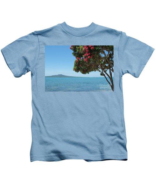 Pohutukawa Tree In Bloom With Rangitoto Island Kids T-Shirt