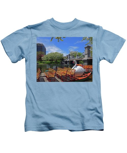 Public Garden Swan Boat In The Spring Boston Ma Kids T-Shirt