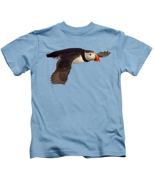 Puffin In Flight T-shirt Kids T-Shirt by Tony Mills