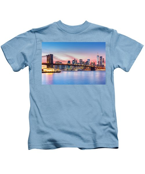 Purple Nyc Sunset Kids T-Shirt