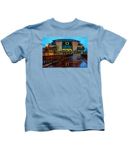 Rainy Autzen Stadium Kids T-Shirt