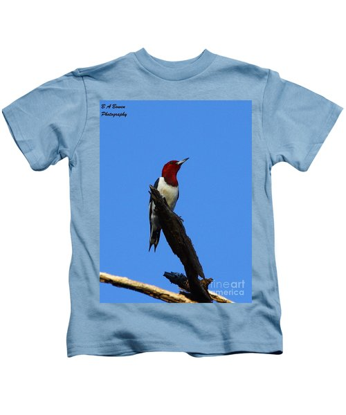 Red Headed Woodpecker On A Snag Kids T-Shirt