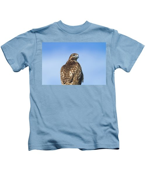 Red-tailed Hawk Perched Looking Back Over Shoulder Kids T-Shirt