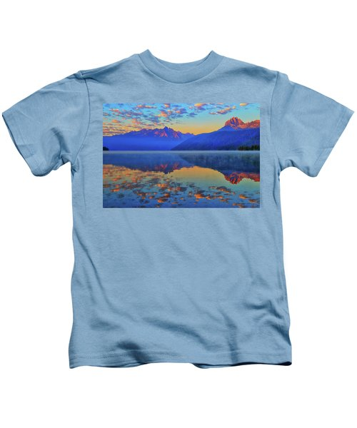 Redfish Lake Morning Reflections Kids T-Shirt