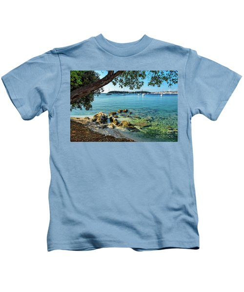 Rovinj Old Town, Harbor And Sailboats Accross The Adriatic Through The Trees Kids T-Shirt