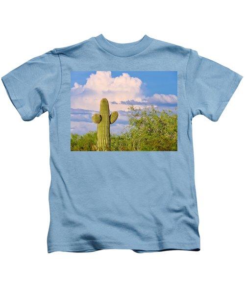 Saguaro And Mesquite In Monsoon Season Kids T-Shirt