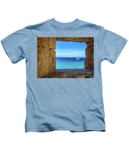 Sailboat Through The Old Stone Walls Of Rhodes, Greece Kids T-Shirt