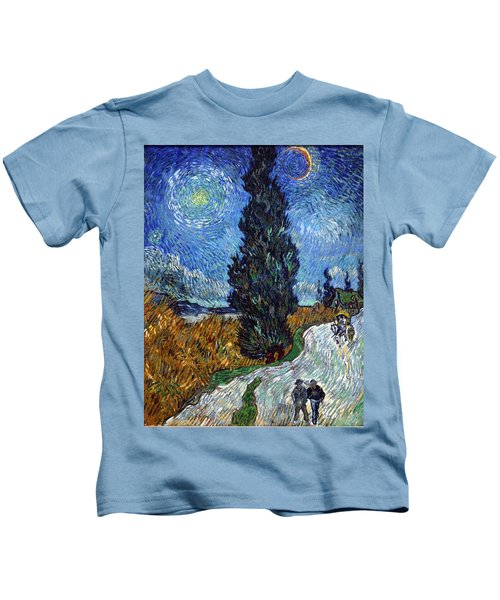 Saint-remy Road With Cypress And Star Kids T-Shirt
