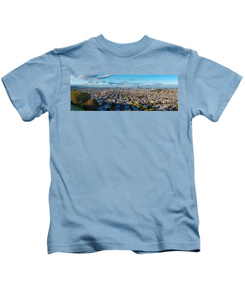 San Francisco Skyline From Bernal Heights Park At Sunset - San Francisco California Kids T-Shirt