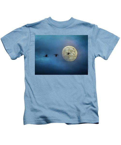 Sandhill Cranes With Full Moon Kids T-Shirt