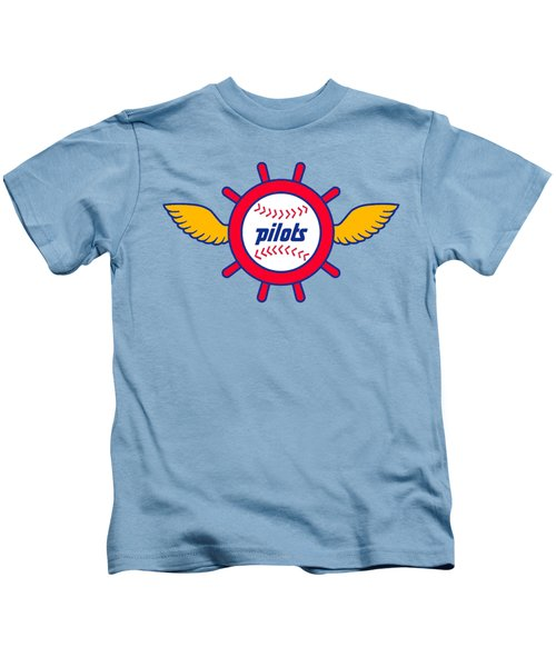 Seattle Pilots Retro Logo Kids T-Shirt by Spencer McKain