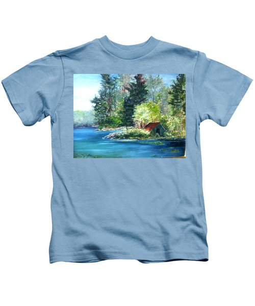 Secluded Boathouse-millsite Lake  Kids T-Shirt