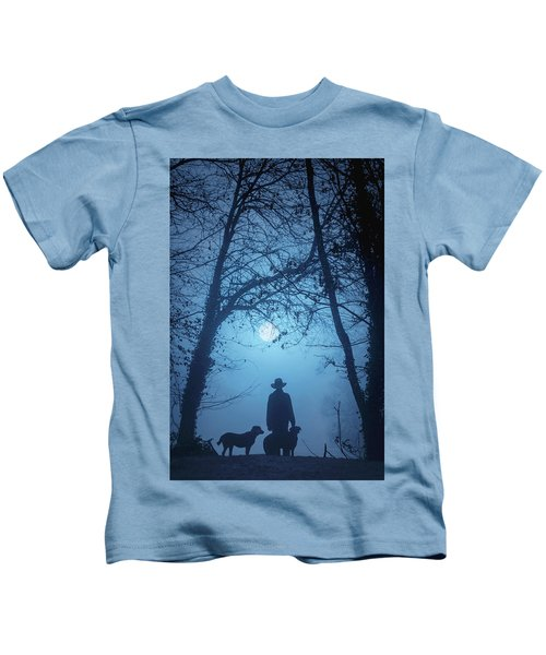 Shepherd And His Dogs Along The River Tamar Kids T-Shirt