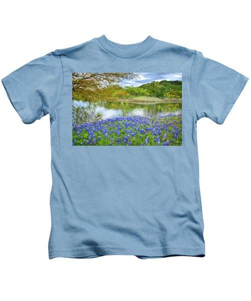 Shoreline Bluebonnets At Lake Travis Kids T-Shirt