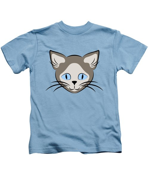 Siamese Cat Face With Blue Eyes Dark Kids T-Shirt