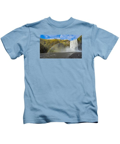 Skogafoss Rainbow Kids T-Shirt