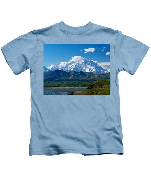 Snow-covered Mount Mckinley, Blue Sky Kids T-Shirt
