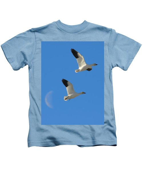 Snow Geese Moon Kids T-Shirt