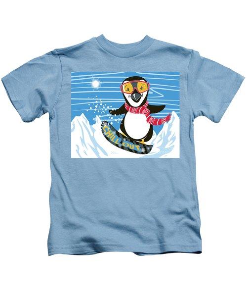 Snowboarding Penguin Kids T-Shirt