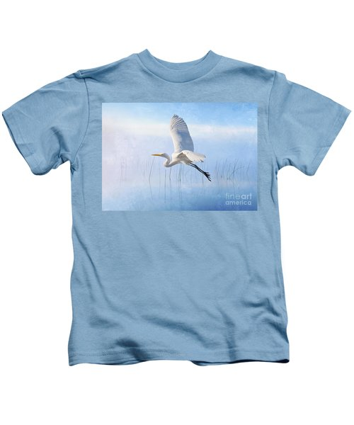 Snowy Egret Morning Kids T-Shirt