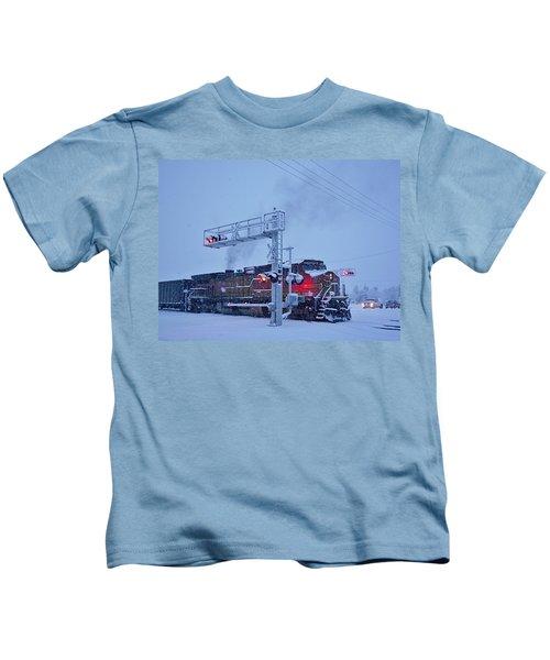 Snowy Train Crossing  Kids T-Shirt
