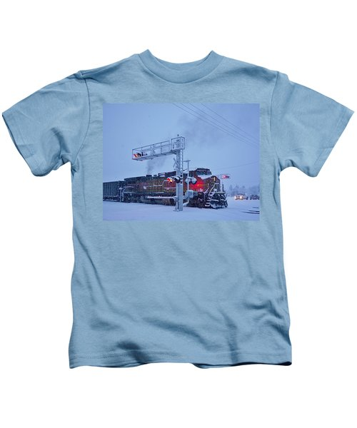Snowy Train Crossing  Kids T-Shirt